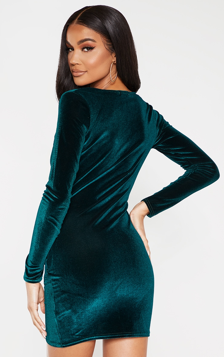 Emerald Green Velvet Long Sleeve Wrap Detail Bodycon Dress 2
