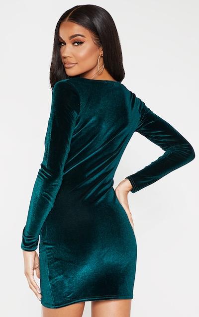 Emerald Green Velvet Long Sleeve Wrap Detail Bodycon Dress