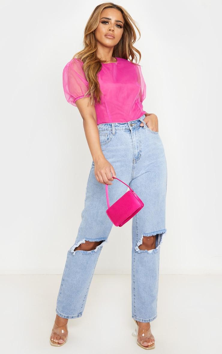 Petite Pink Organza T Shirt Blouse 4