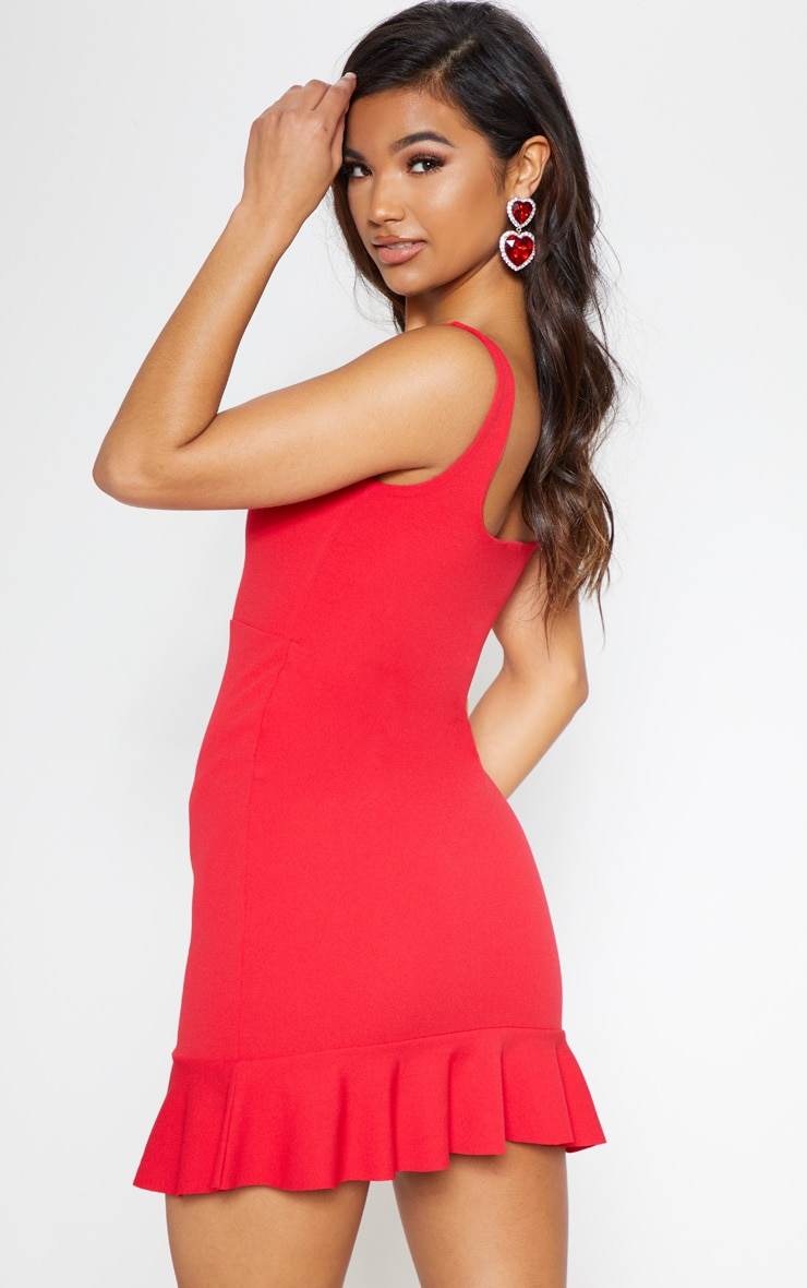 Red V Bar Frill Hem Bodycon Dress 3