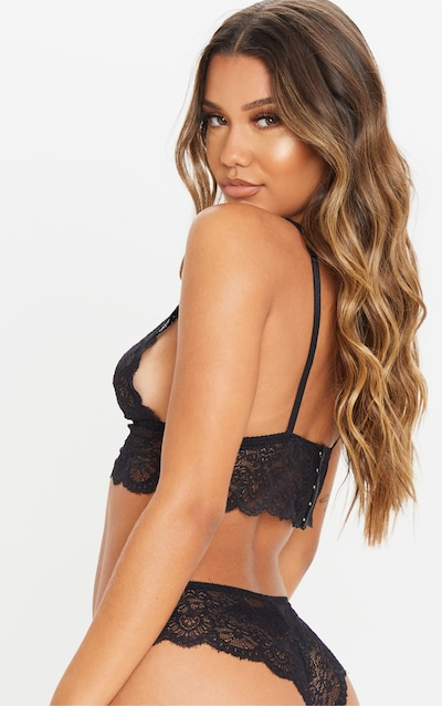 Black Button Front Bralet And Knicker Set