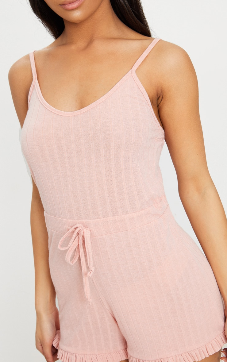 Pale Pink Strappy Thick Rib PJ Romper 5