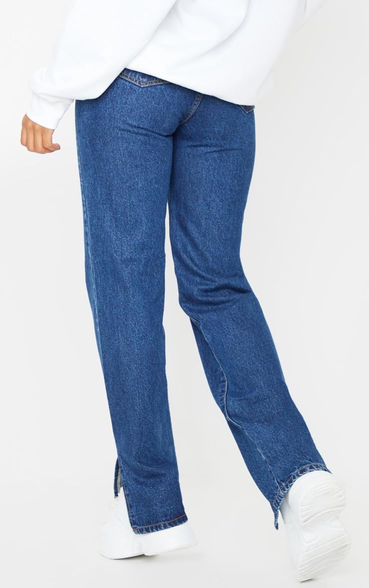 Dark Blue Wash Split Hem Straight Leg Jeans 3
