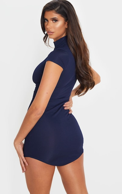 Navy High Neck Ribbed Bodycon Dress