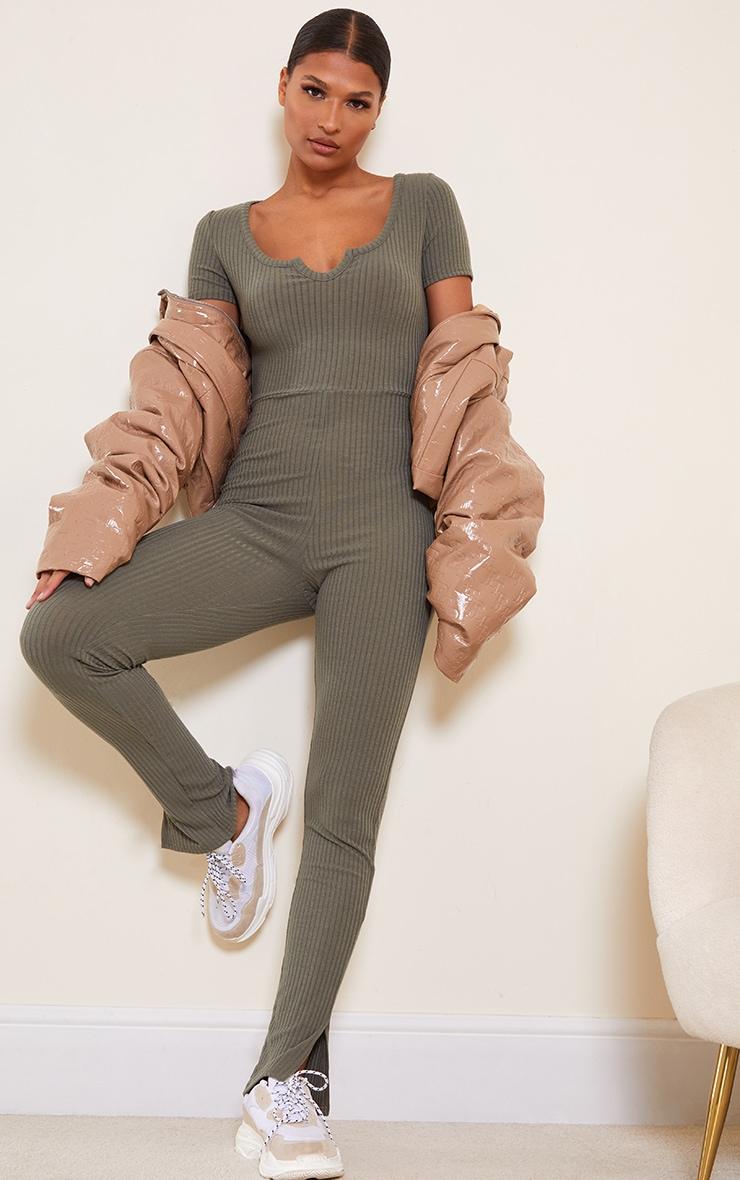 Khaki Rib V Detail Short Sleeve Jumpsuit 1