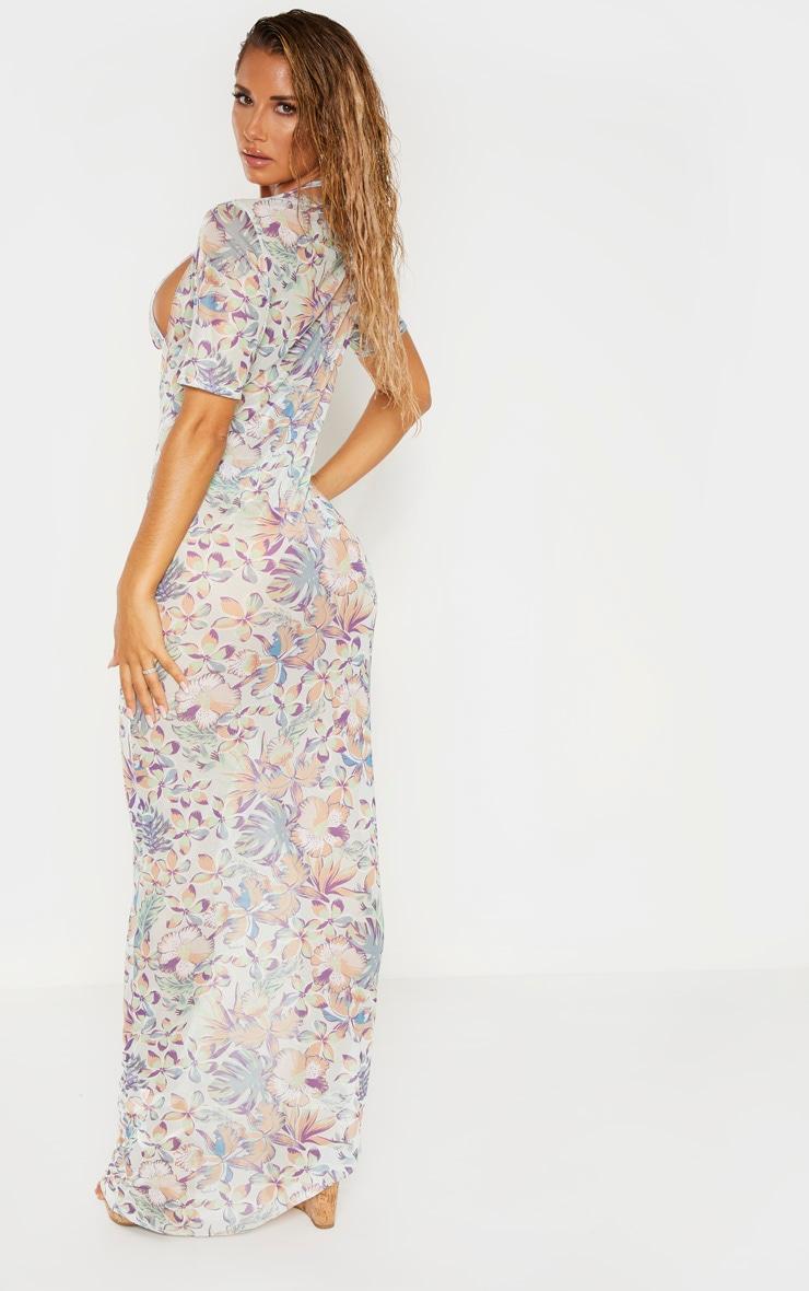 Pastel Hawaiian Print Short Sleeve Scoop Mesh Maxi Dress 3