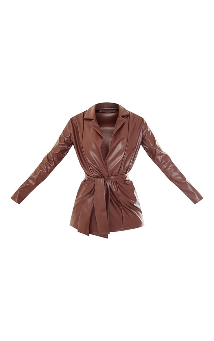 Tall Chocolate Drop Collar Faux Leather Blazer 5