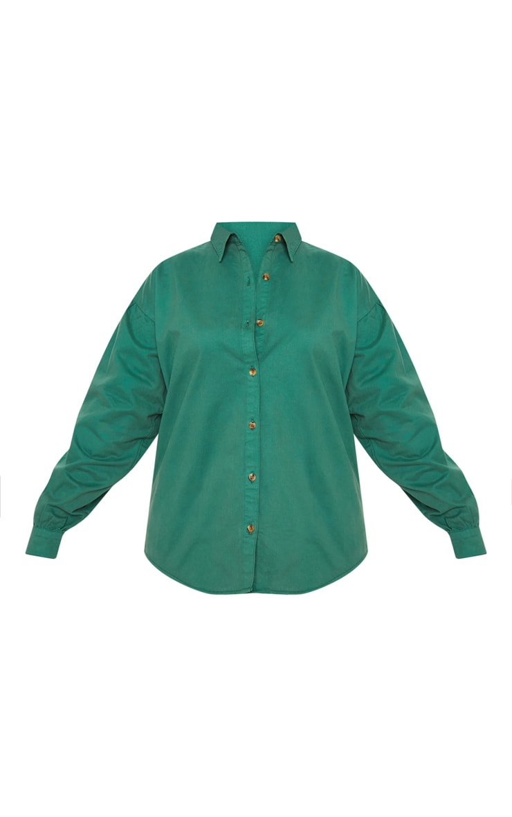 Plus Emerald Green Denim Tortoise Button Puff Sleeve Shirt 3