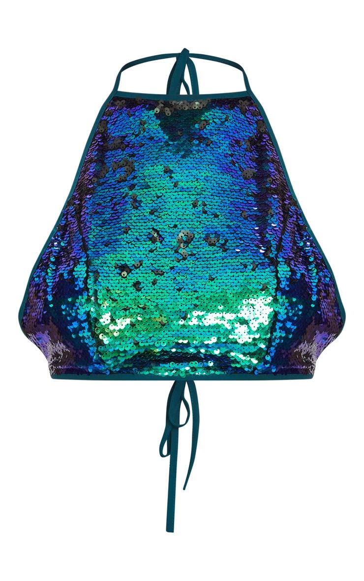 Liberty Green Sequin Halterneck Crop Top 3