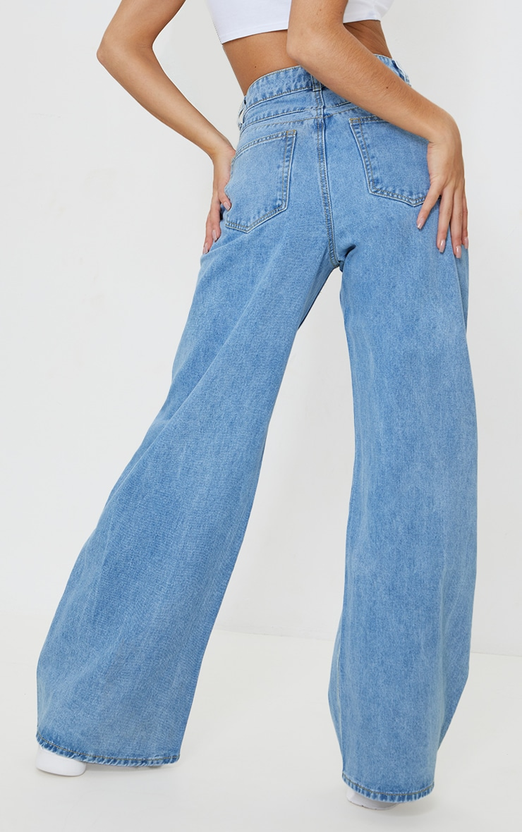 Light Blue Wash Light Weight Wide Leg Jeans 3