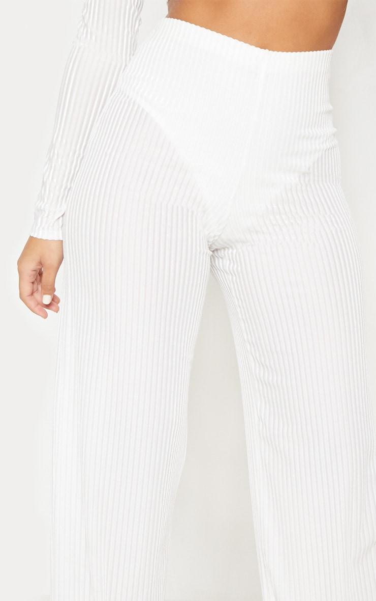 White Velvet Sheer Stripe Wide Leg Trouser 6