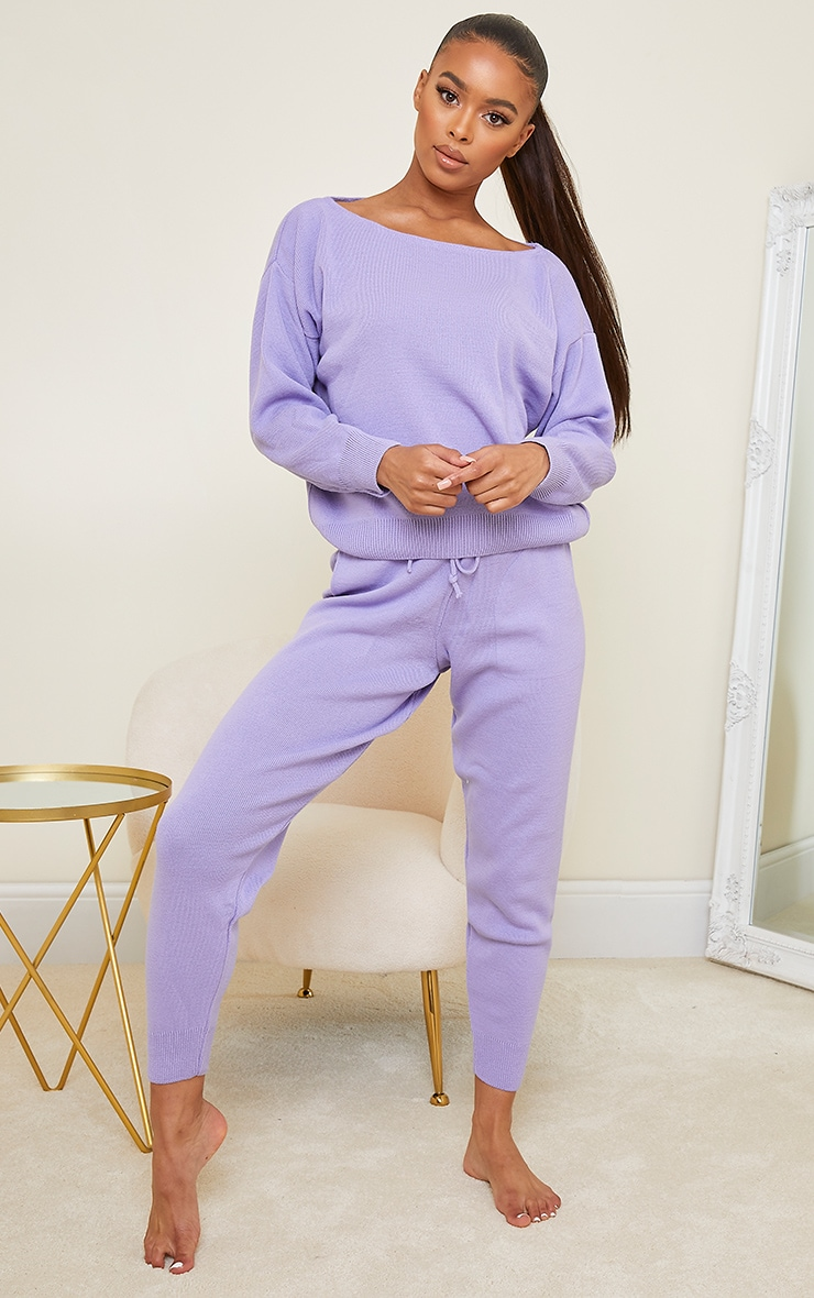 Lilac Slash Neck Knitted Set 3
