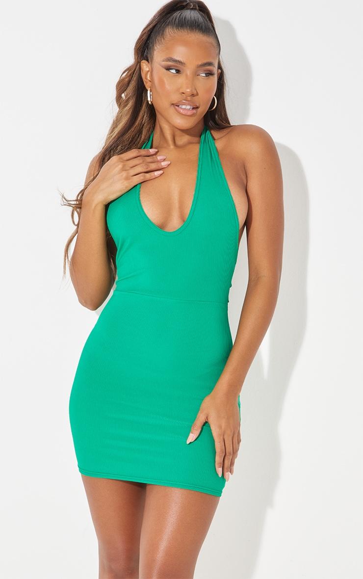 Green  Ribbed Halterneck Tie Back Bodycon Dress 1