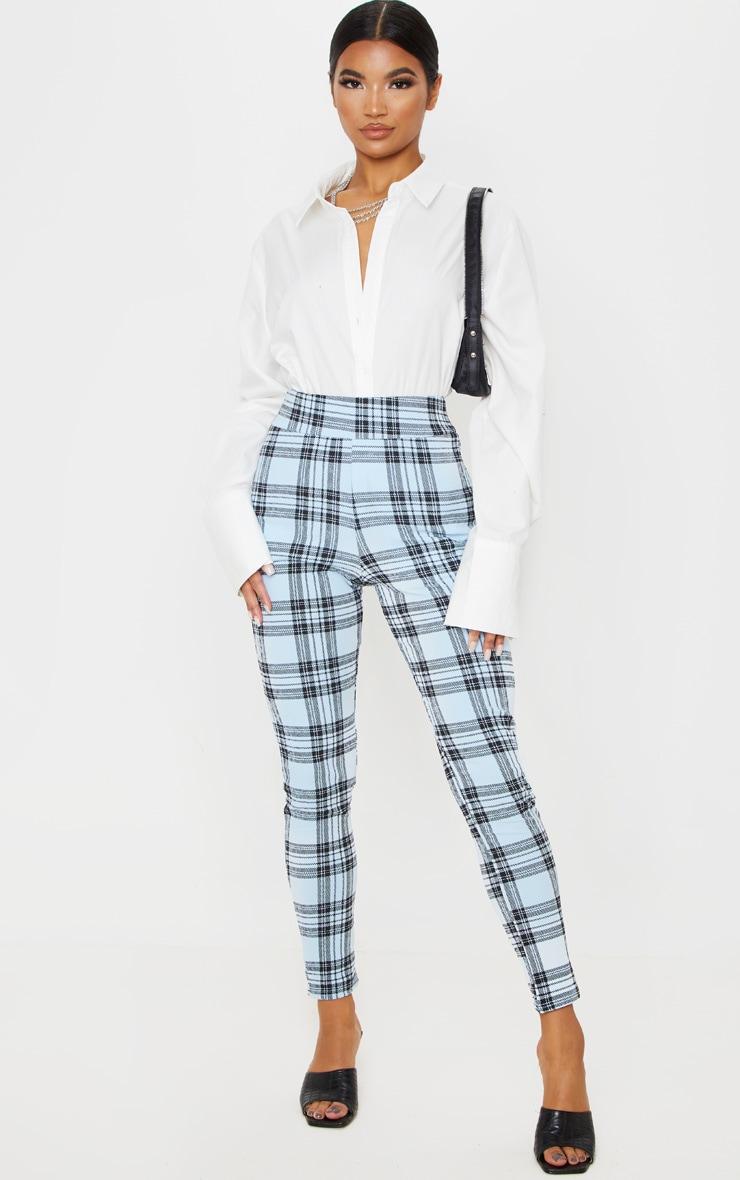 Blue Check Skinny Pants 1