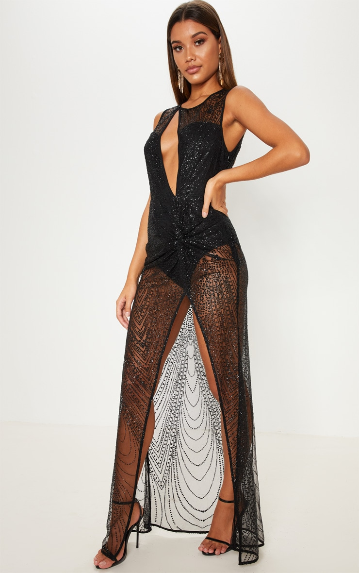 Black  Glitter Sheer Extreme Split Maxi Dress 4