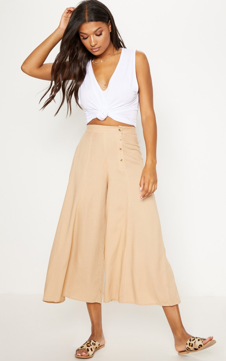 Stone Button Detail Extreme Culotte