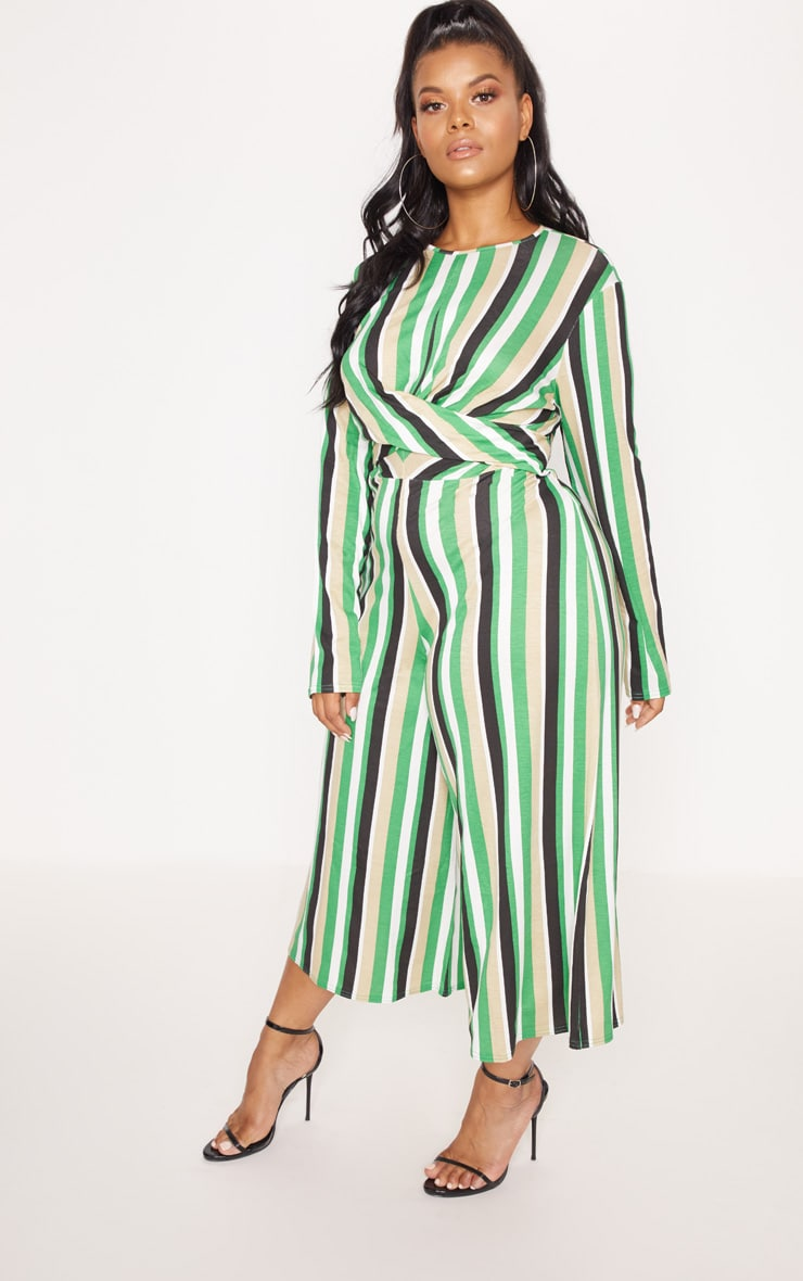 Plus Green Twist Front Stripe Culotte Jumpsuit 4
