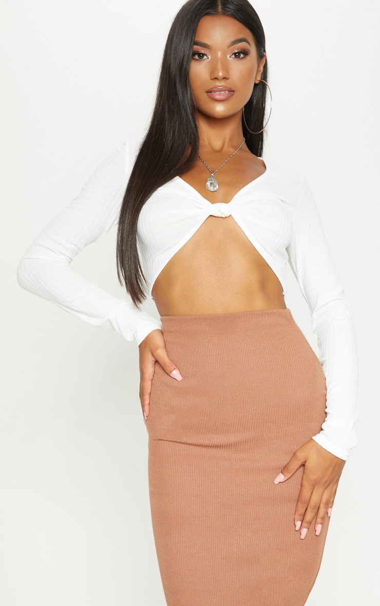 White Rib Knot Front Long Sleeve Crop Top 1