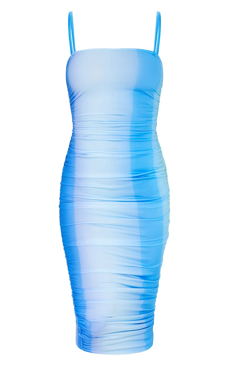 Blue Ombre Tie Dye Print Slinky Strappy Ruched Midaxi Dress 4
