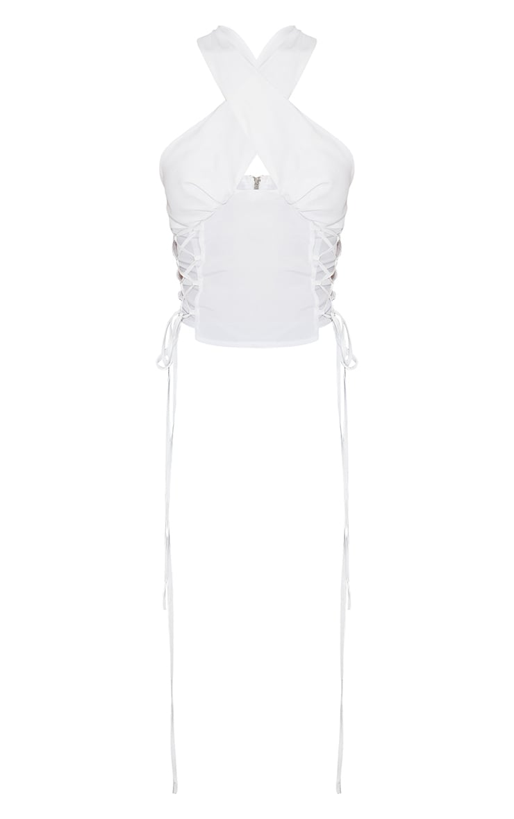 White Woven Sleeveless Lace Up Side Long Top 5