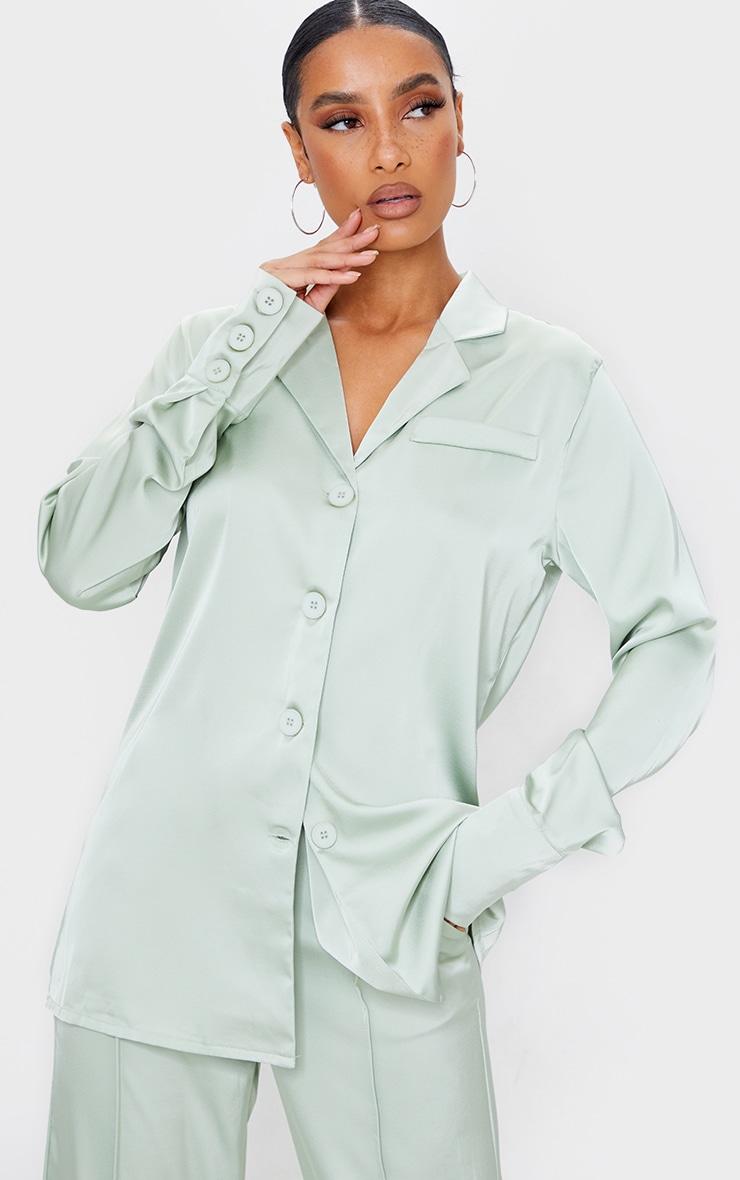 Sage Green Satin Oversized Button Cuff Shirt