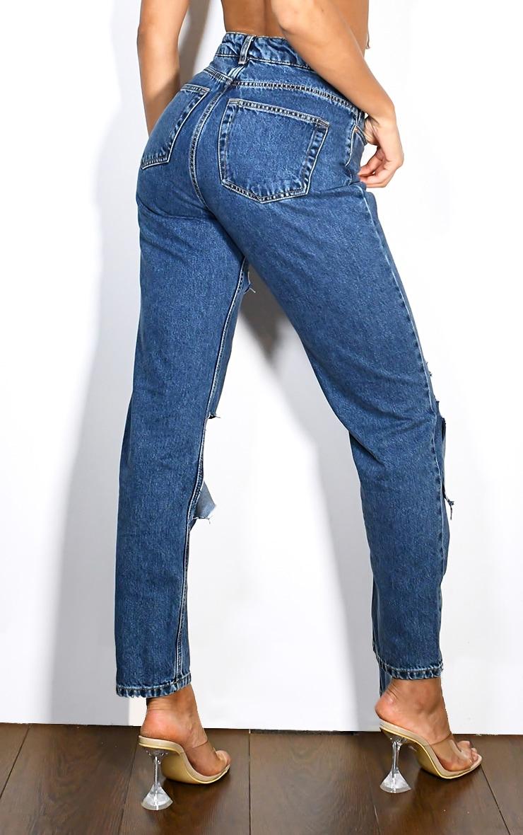 Mid Wash Slit Knee Straight Leg Jeans 3