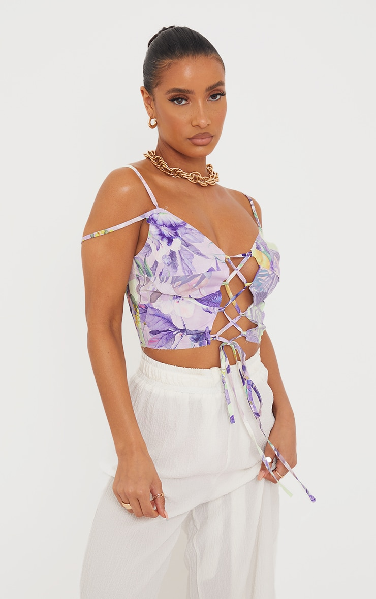 Lilac Printed Linen Look Raw Edge Lace Up Strappy Crop Top 1