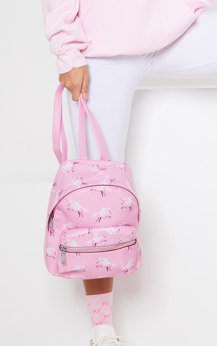 PRETTYLITTLETHING Unicorn Pink PU Backpack 2
