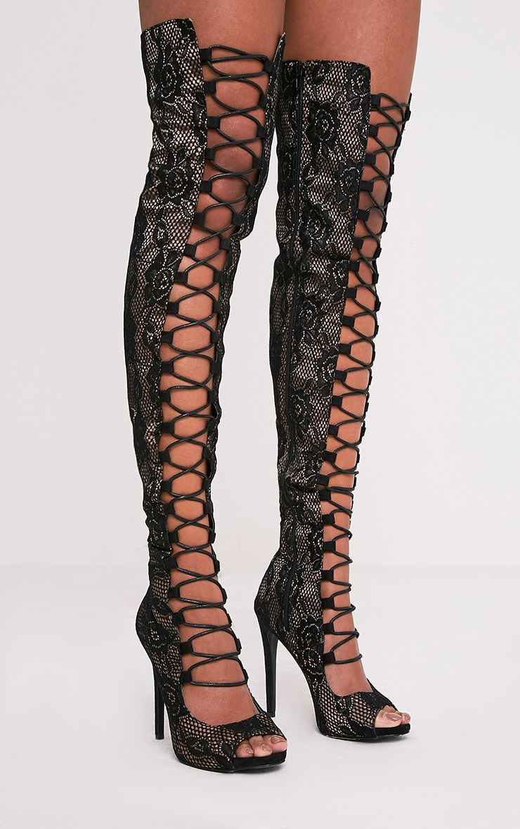 Safire Black Lace Up Thigh High Lace Heels 3