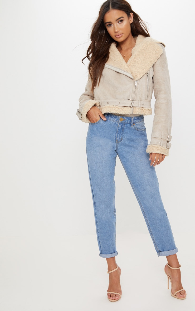 Beige Cropped  Aviator Jacket 4