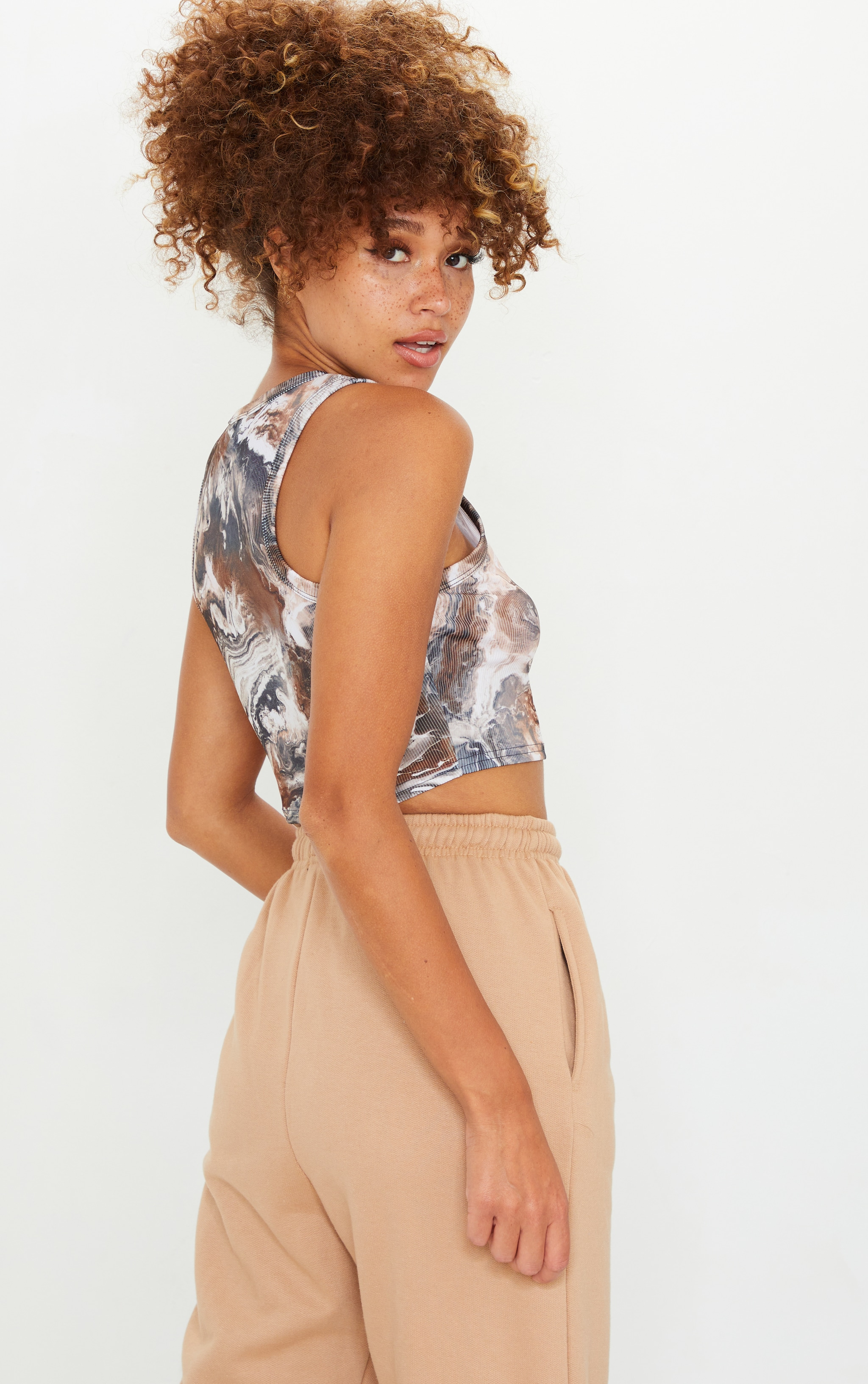 Brown Abstract Marble Print Rib Racer Vest 3