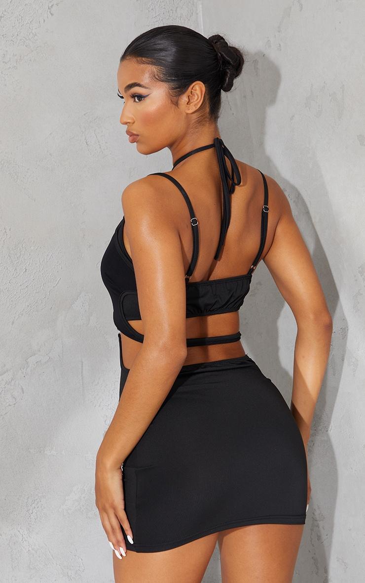 Black Strappy Mesh Detail Cut Out Bodycon Dress 2