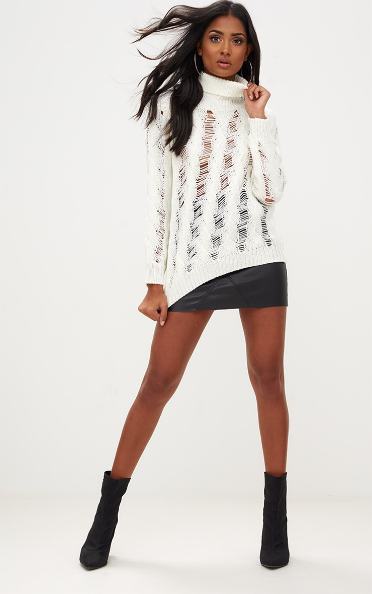 Cream Roll Neck Distressed Knitted Jumper  4