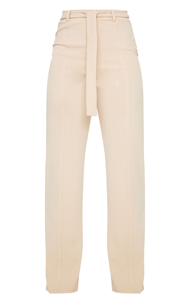 Stone Seam Front Belted Wide Leg Pants  5