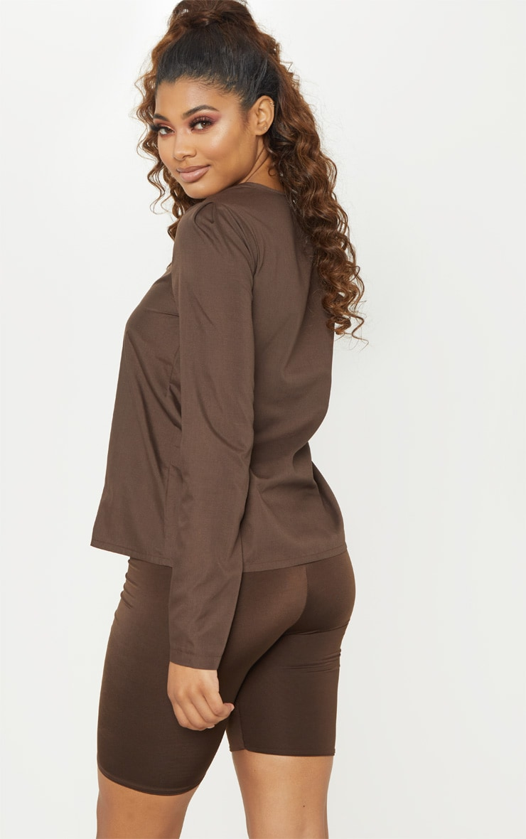 Tall  Chocolate Brown Woven Button Front Blouse 2