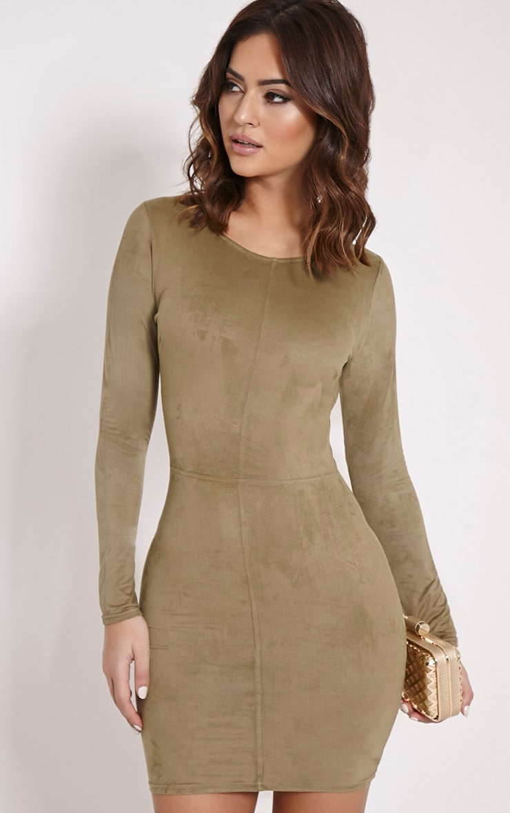Braelynn Khaki Faux Suede Long Sleeved Mini Dress 1