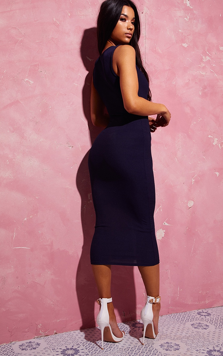 Navy Ribbed Midi Dress 2