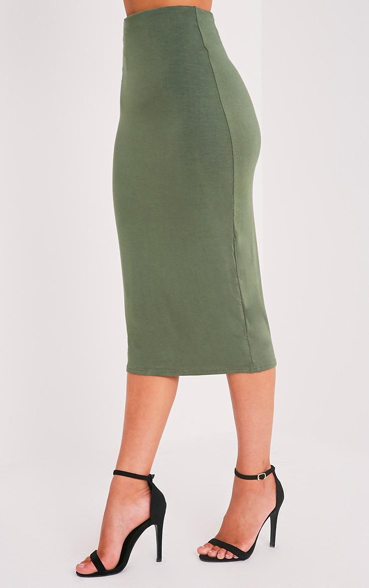 Basic Khaki Longline Midi Skirt 4