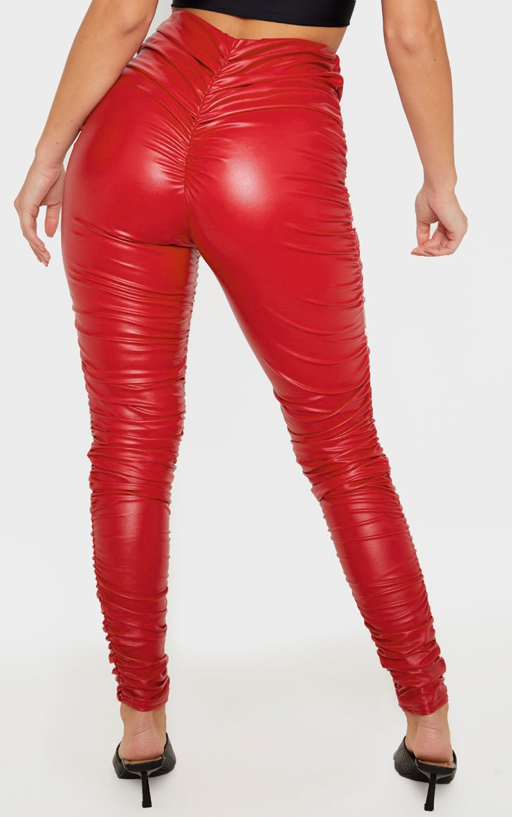 Red Faux Leather Ruched Legging  4