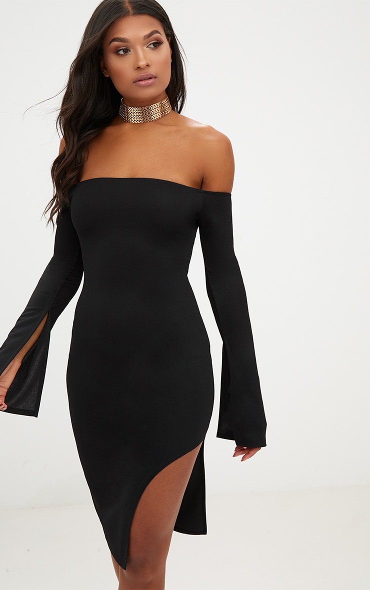 Black Bardot Split Sleeve Detail Midi Dress 1