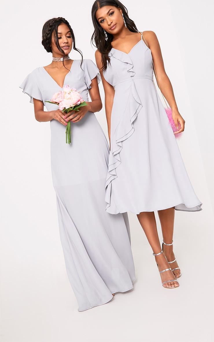 Janeen Ice Grey Plunge Maxi Dress 6
