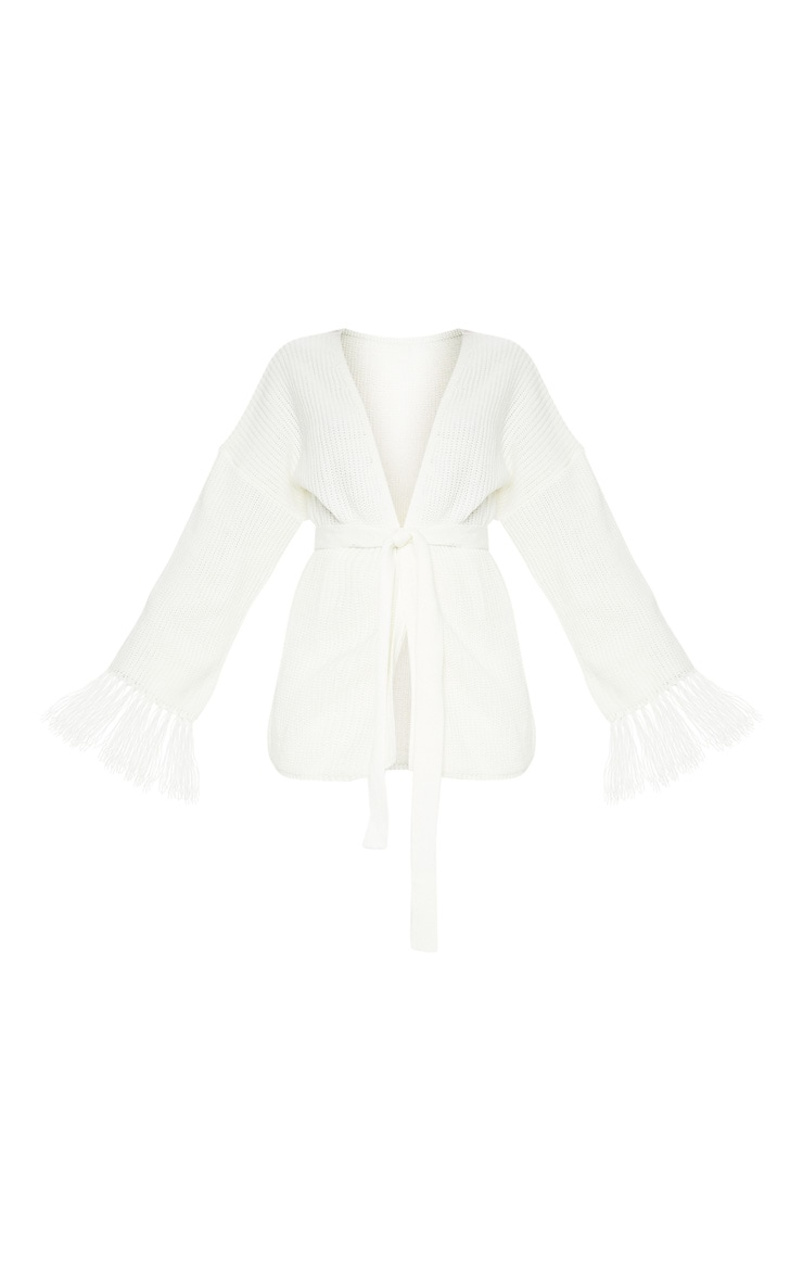 Cream Tassel Sleeve Knitted Cardigan 3