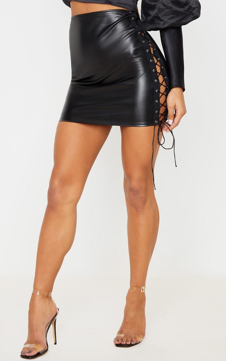 Black Faux Leather Lace Up Sides Mini Skirt 3