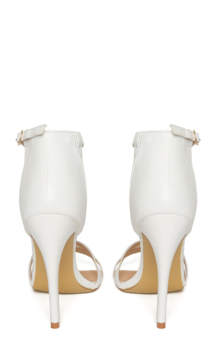 Cassia White Strap Heeled Sandals 7