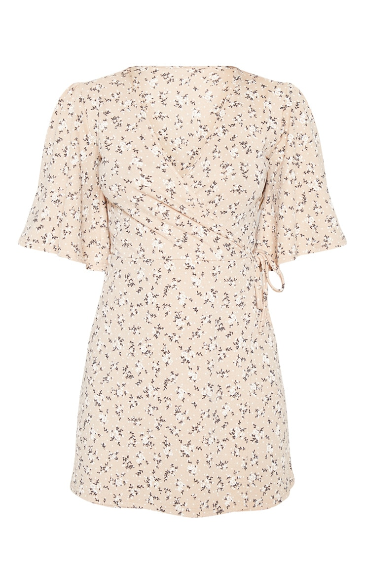 Beige Ditsy Floral Tie Wrap Tea Dress 3