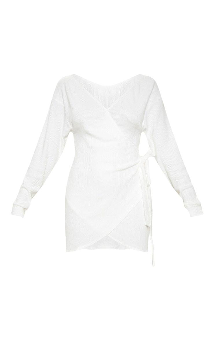 White Brushed Rib Bardot Wrap Tie Bodycon Dress 3
