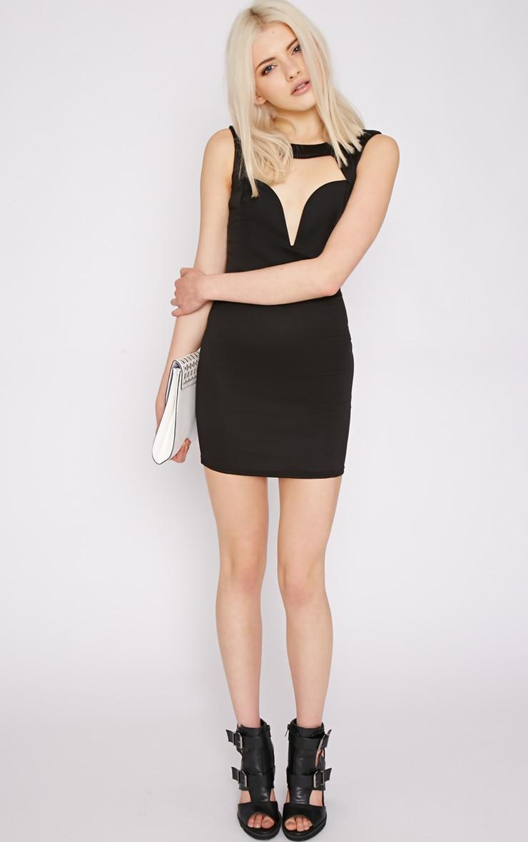 Adeline Black V Front Structured Dress 5