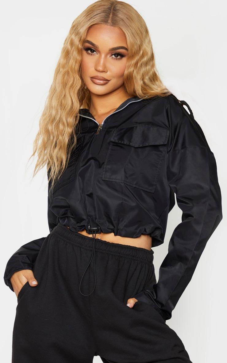 Black Shell Hooded Toggle Hem Jacket 1