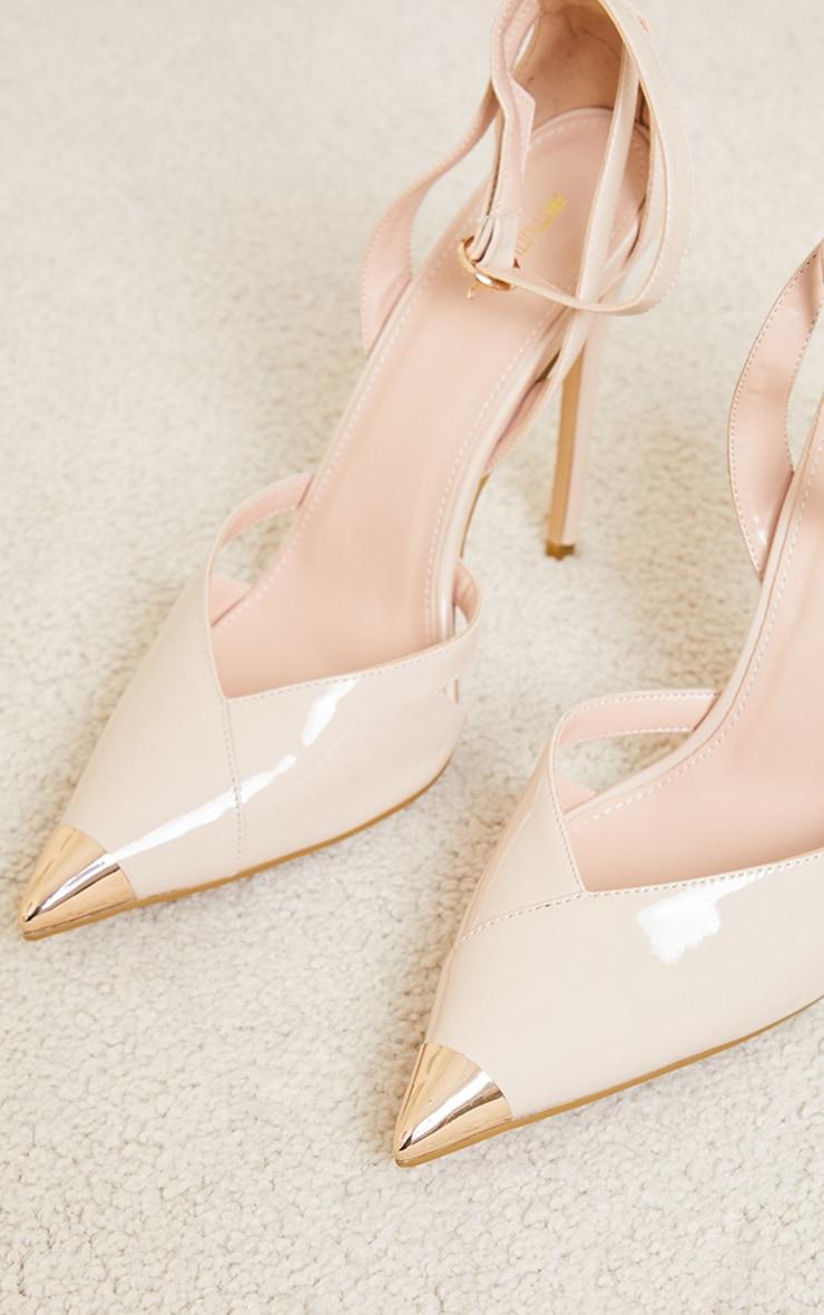 Nude Patent PU Cut Out Heel Metal Toe Court Shoe 3