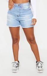 Shape Light Wash Denim High Waist Mom Shorts 2